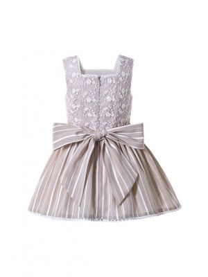 Ivory Square Collar Ruffle Flowers Princess Girls Dress + Hand Headband
