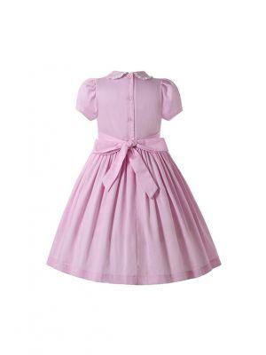 Girls Sweet Short Sleeve Pink Smocked Dress