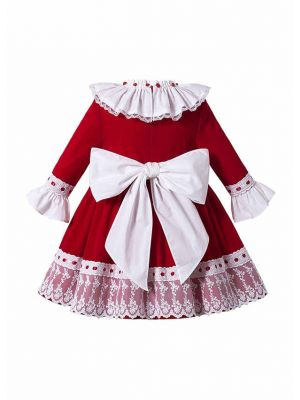 Christmas Girls Autumn Red Ruffles Lace Fluffy Princess Party Three Quarter Sleeves Dress With Ribbon Bows + Hand Headband