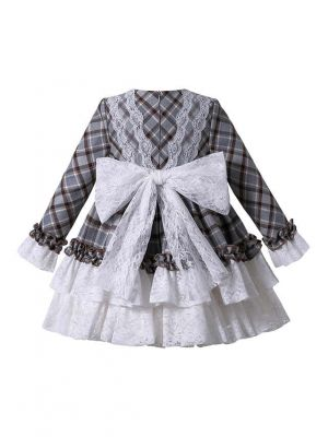 2020 Autumn Gorgeous White & Grey Plaid Layered Ruffles Girls Boutique Princess Dress + Handmade Headband