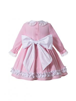 2020 Autumn Boutique Sweet Pink Girls Ruffles Lace Kids Three Quarter Sleeves Dress + Hand Headband