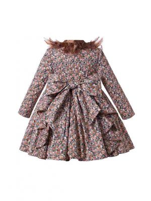 Stunning Vintage Girls Feather Floral Autumn Dress + Handmade Headband