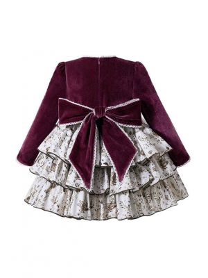Exclusive 2020 Autumn Velvet Wine Red Ruched Butterfly Brooch Layered Dress + Handmade Headband