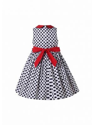 Navy Blue Polka Dots Over-Knee Length Sleeveless Smocked White Cotton Dress