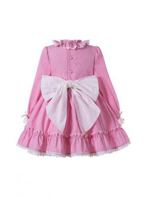 Girls Autumn Pink Ruffles Lace White Dot Princess Party Dress With Ribbon Bows + Hand Headband