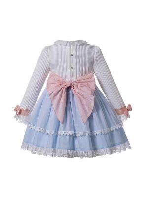 Autumn Light Blue Girls Ribbons Bow Dot Double-layered Boutique Dress + Hand Headband