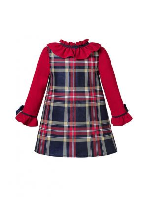 Autumn Red Girls Double-layered Plaid Dress With Bow