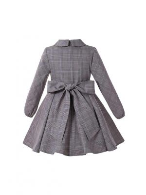 (Pre-order Products)Girls Vintage Grey Christmas Tartan Asymmetrical Boutique Kids Dress With Red Flower + Hand Headband