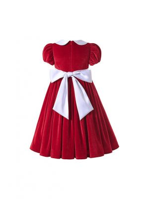 (Pre-order products) Sweet Red Girls Turn-down Collar Short-Sleeve Dress