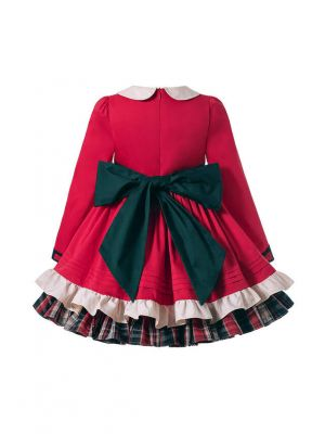 Winter Vintage Girls Turn-down Collar Floral Red Dress With Bow