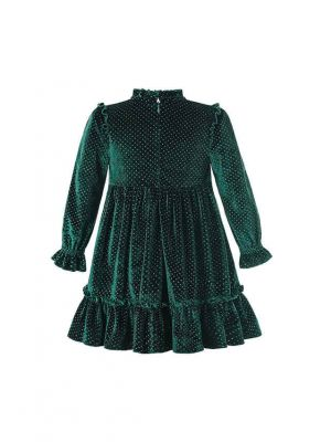 (Pre-order products) Winter Vintage Girls Green Straight Dress With Sequined