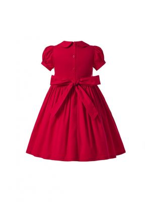 Boutique Girl Princess Embroidered Red Short-Sleeve Smocked Dress
