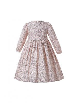 Light Pink Floral Girl Round Neck Spring New Dress