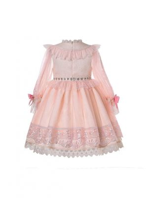 (PRE-ORDER)Summer Luxury Lantern Sleeve Lace Bowknots Girls Dress