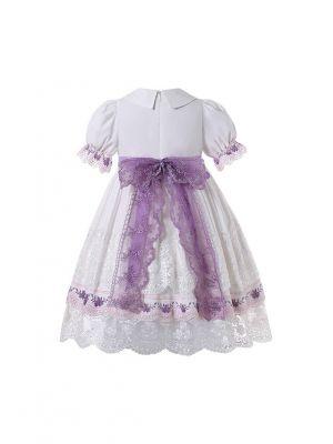 Princess Summer Short Sleeve Exquisite Lace White Summer Dress + Headband