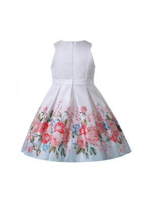 2021 New Arrival Crewneck Flowers Print Sleeveless Girls Dress