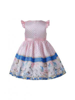 2021 Summer Round Neck Printed Blue Stripes Girls Knee-Length Pink Dress