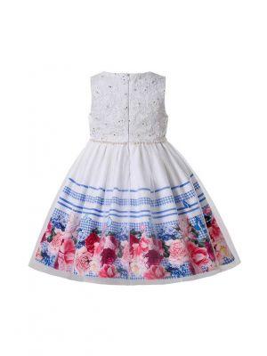 2021 New Summer Sleeveless Printed Lattice & Floral Pattern Girls White Dress