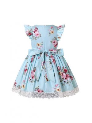 Floral Cyan-Blue Sleeveless Summer Dress