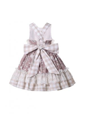 Summer Girls Bows Sleeveless Lace Plaid Backless Dress