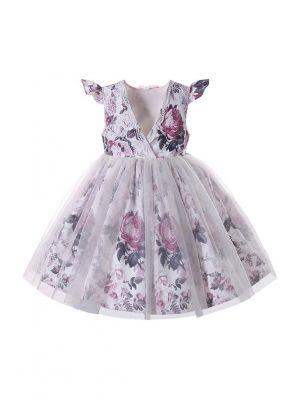 Heart Floral Bow Girls Summer Magenta Dress