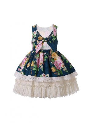 Lifelike Floral Pattern Excellent Lace Summer New Dress (ONLY 4Y 10Y)