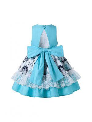 Cyan-Blue Sleeveless Flower Patterns Lace Girls Dress