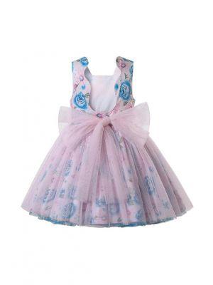 Square Collar Sleeveless Chiffon Pink and Blue Dress + Handmade Headband