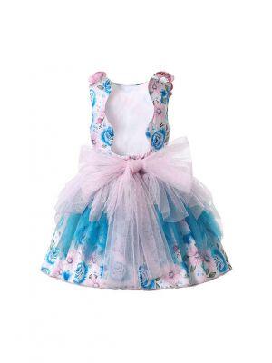 Sleeveless Chiffon Pink Blue Dress + Handmade Headband