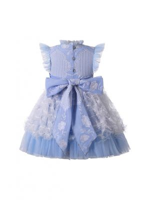 Embroidery Lace Chiffon Bows Feather Ornament Girls Blue Dress + Handmade Headband