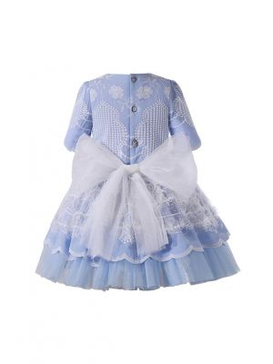 Blue Floral Embroidery Tulle Bows Feather Decoration Short Sleeve Girls Dress + Handmade Headband