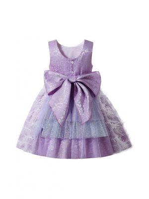 2021 Summer Purple Lace Flower Feather Ornament Girls Dress + Handmade Headband