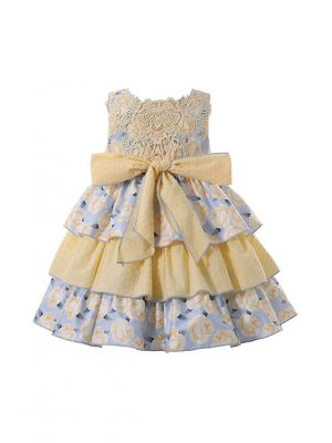 New Arrival 2021 Vintage Square Collar Bows Girls Yellow Dress + Headband