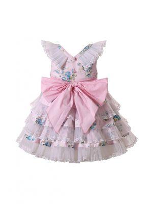 (PRE-ORDER)Summer Girls Light Pink V-neck Dress with Blue Flower Patterns Lace Bows + Handmade Headband