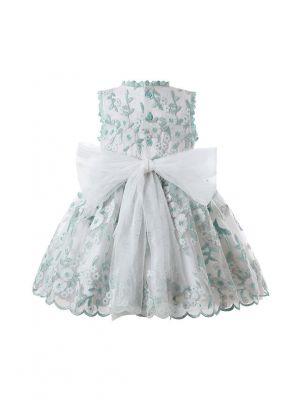 Princess White Lace Yarn Flower Heart Embroidery Bow Dress with Matching Headband