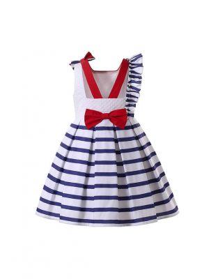 Girls Sleeveless White & Blue Striped Dress + Handmade Headband