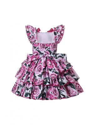 Stunning Rose Patterns Girls A-line Dress + Handmade Headband