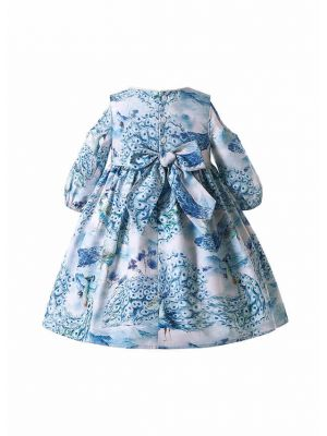 Blue Floral Patterns Girls Summer Dress + Handmade Headband