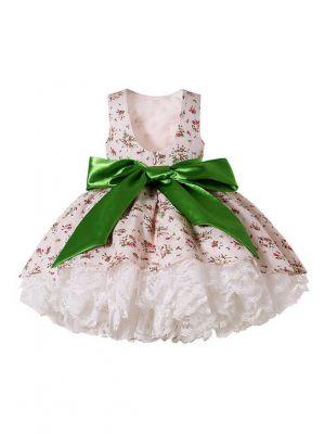 Cream color Sleeveless Floral Roundneck Lace Dress + Handmade Headband