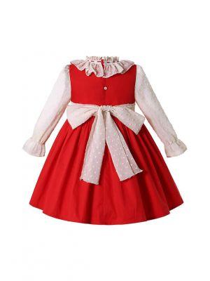 Sweet Long Sleeve Red Dress for Girls + Handmade Headband