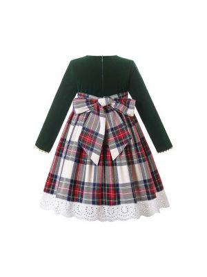 Christmas Deep Green Long Sleeve Plaid Dress + Handmade Headband