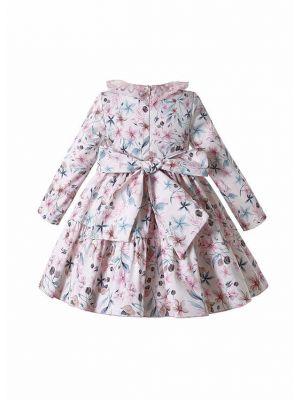 Long Sleeve A-line Pink Floral Dress + Handmade Headband