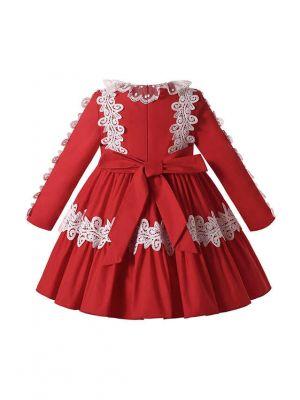 Autumn & Winter White Lace Bow Red Ruffle Dress + Handmade Headband