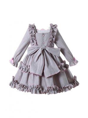 Gray Long Sleeve Knee-length Ruffle Girls Dress + Handmade Headband