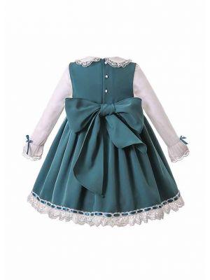 Green Christmas Ruffle Ribbon Lace Dress with Handmade Headband