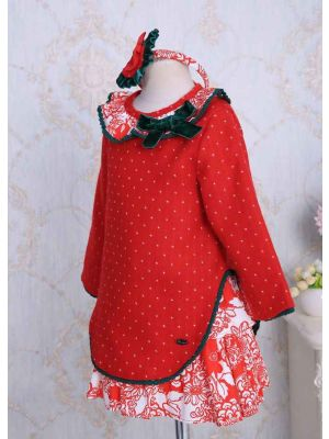 Red Dot Girl Dress With Hairband