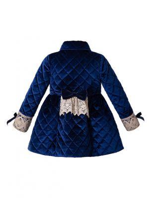 Royal Blue Diamond Pattern Winter Girls Coat