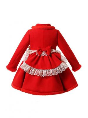 (PRE-ORDER)Sweet Solid Red Girls Coat with Lace and Bows