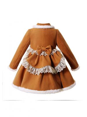Sweet Solid Khaki Girls Coat with Lace and Bows