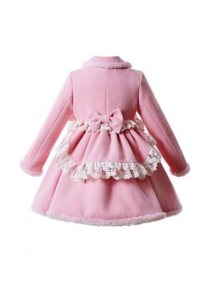 Sweet Solid Pink Girls Coat with Lace and Bows